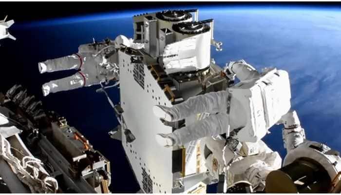 Astronauts finish 1st solar arrays installation outside International Space Station