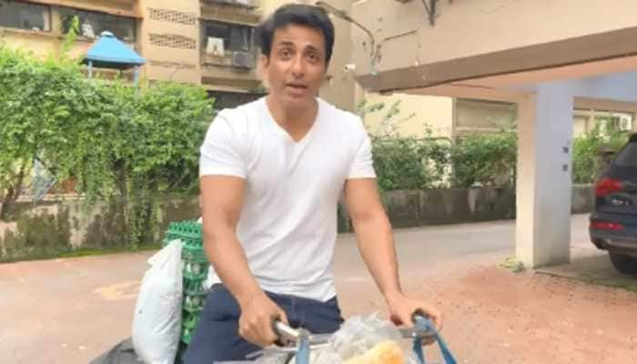 Viral video: Sonu Sood sells eggs and bread on his bicycle, calls out for free home delivery - Watch