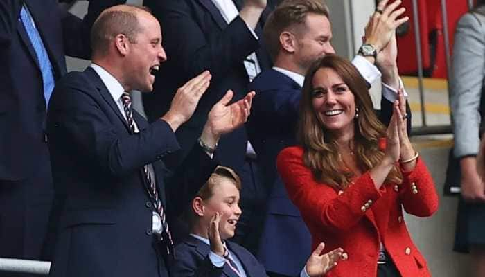Prince William with wife Catherine and son Prince George cheer a goal by England in their UEFA Euro 2020 Round of 16 game at Wembley. (Source: Twitter)
