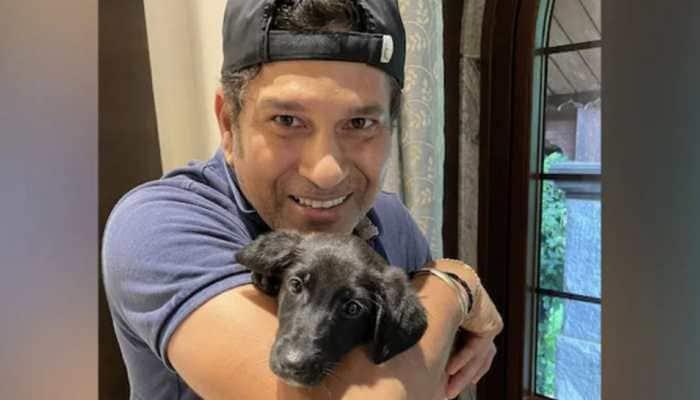 Sachin Tendulkar with his new dog