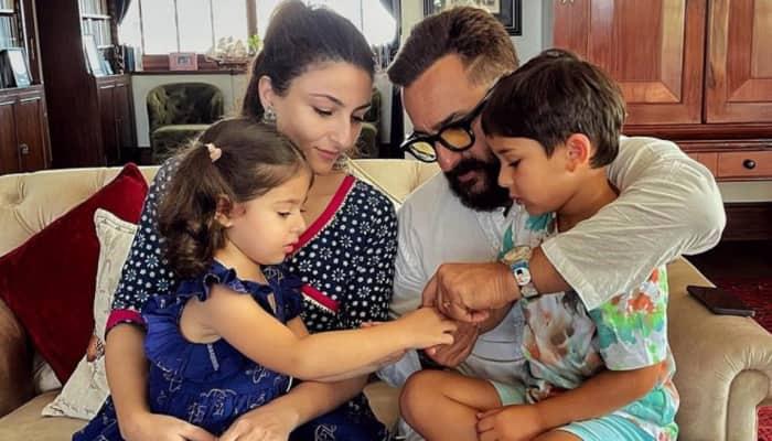 Saif Ali Khan, Soha Ali Khan have post Raksha Bandhan celebration with Taimur Ali Khan and Innaya Kemmu