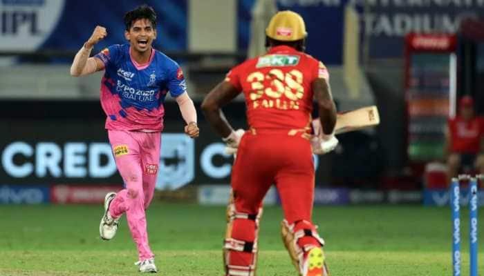 Rajasthan Royals paceman Kartik Tyagi celebrates after dismissing Punjab Kings all-rounder Fabian Allen in their IPL 2021 match in Dubai. (Photo: BCCI/IPL)
