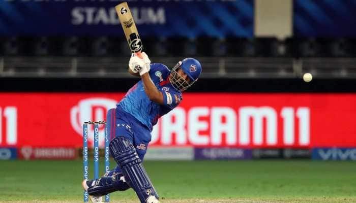 Delhi Capitals skipper Rishabh Pant hits a boundary en route his unbeaten 35 against Sunrisers Hyderabad in their IPL 2021 match in Dubai. (Photo: ANI)